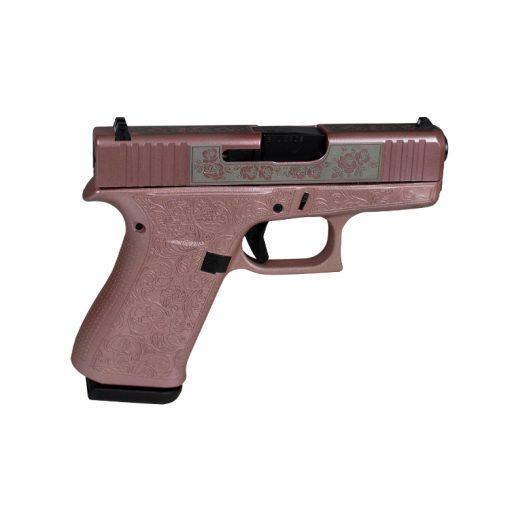 Glock 43X Glocks & Roses Pink Custom Engraved 9mm Pistol